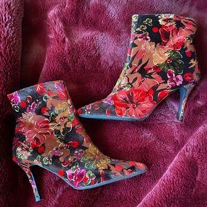 Burgundy Floral Velvet booties